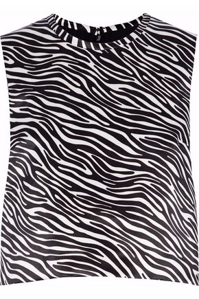 MSGM Zebra-print satin top