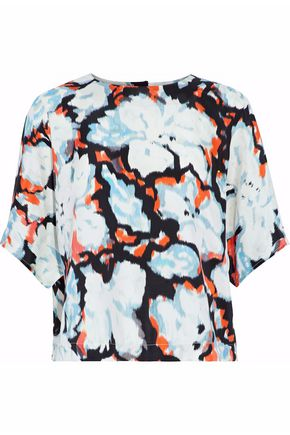 MSGM Printed silk-satin top