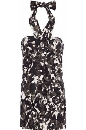 NORMA KAMALI Printed stretch-jersey halterneck mini dress