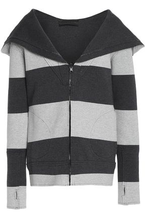 NORMA KAMALI Striped stretch-cotton hooded sweatshirt