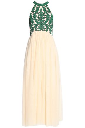 GANNI Bead-embellished pleated tulle maxi dress