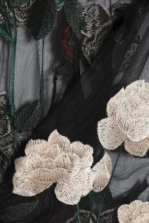GANNI Velvet-trimmed embroidered tulle top