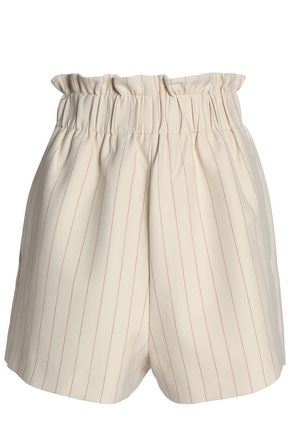 WOMAN GATHERED PINSTRIPED CREPE DE CHINE SHORTS BEIGE