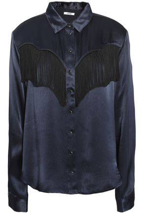 GANNI Fringed satin shirt