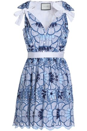 ALEXIS Bow-detailed embroidered cotton-poplin mini dress