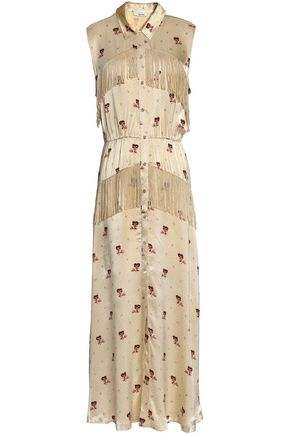 GANNI Donnelly fringed floral-print satin midi dress