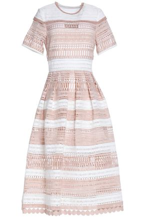ALEXIS Flared two-tone guipure lace midi dress