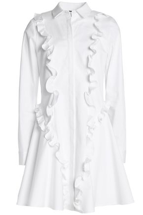 ALEXIS Ruffle-trimmed cotton-blend poplin mini dress
