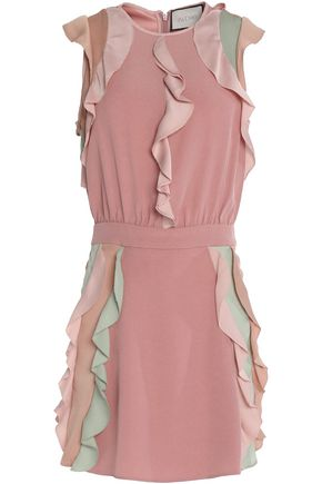 ALEXIS Ruffle-trimmed color-block crepe mini dress