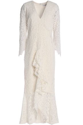 ALEXIS Ruffled corded lace midi dress