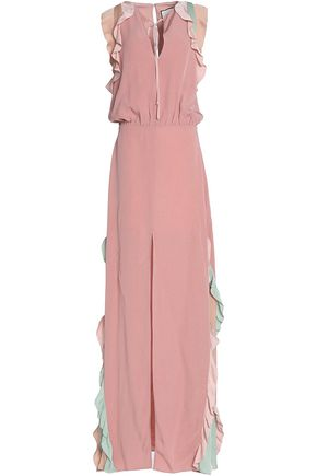 ALEXIS Ruffle-trimmed color-block crepe maxi dress