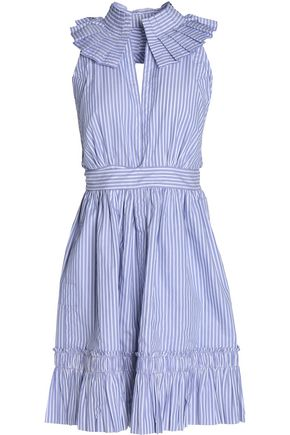 ALEXIS Open-back striped cotton-poplin mini dress