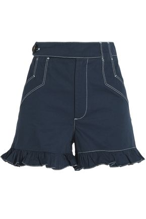 GANNI Ruffled cotton-gabardine shorts