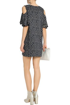 GANNI Greenville cold-shoulder ruffled jacquard mini dress
