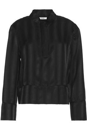 GANNI Silk satin-jacquard blouse