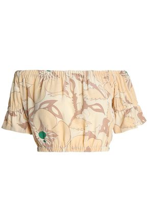 GANNI Grace Bardot cropped off-the-shoulder floral-print silk top