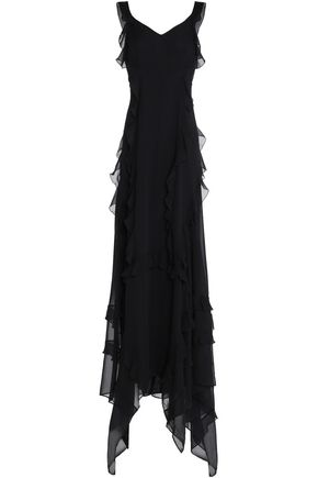 ELIZABETH AND JAMES Catherine ruffled silk-chiffon gown