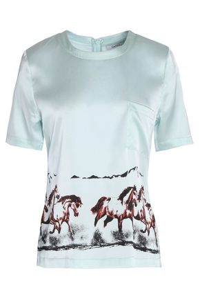GANNI Jolly printed stretch silk-satin T-shirt