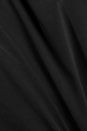 GANNI Grace Bardot cropped off-the-shoulder floral-print silk top