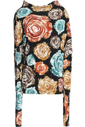 NORMA KAMALI Floral-print stretch-knit top