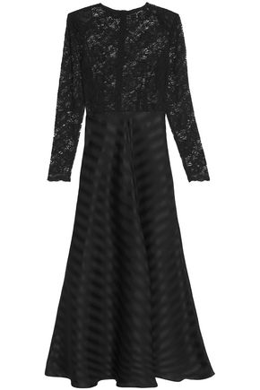GANNI Fluted lace-paneled jacquard gown