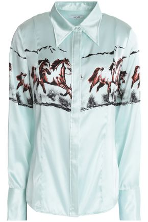 GANNI Jolly printed stretch silk-satin shirt