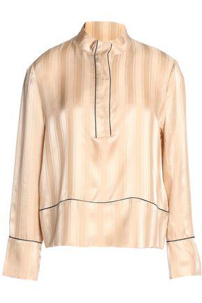 GANNI Silk satin-jacquard shirt