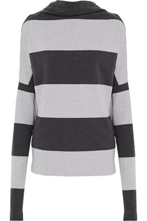 NORMA KAMALI Striped stretch-cotton jersey top