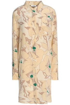 GANNI Grace floral-print silk crepe de chine shirt dress