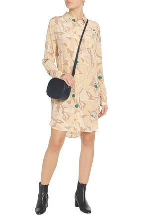 GANNI Grace floral-print silk crepe de chine shirt dress