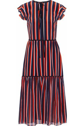MARKUS LUPFER Striped silk midi dress