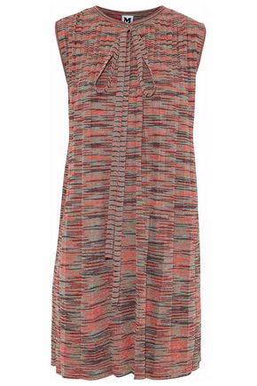 M MISSONI Bow-detailed metallic crochet-knit mini dress