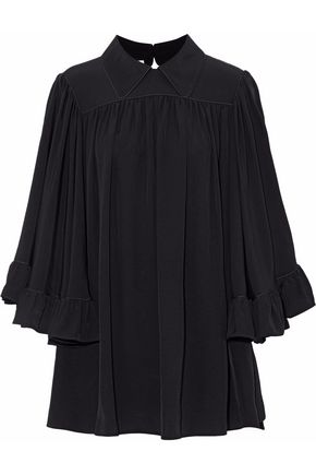 McQ Alexander McQueen Gathered ruffled cady blouse