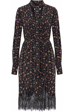McQ Alexander McQueen Pussy-bow lace-paneled printed silk dress