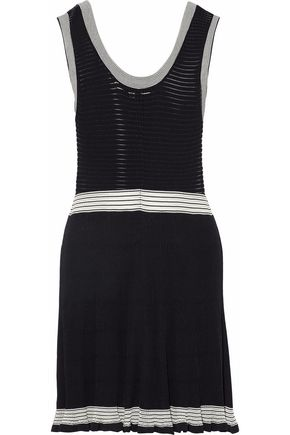 McQ Alexander McQueen Two-tone ribbed cotton-blend mini dress
