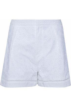 MARKUS LUPFER Pleated broderie anglaise cotton shorts