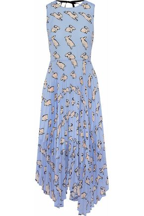 MARKUS LUPFER Pleated printed gauze and crepe de chine midi dress
