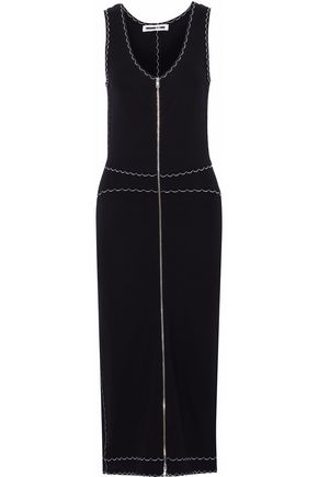 McQ Alexander McQueen Embroidered ponte midi dress