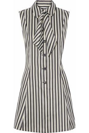 McQ Alexander McQueen Flared striped satin-cady mini dress
