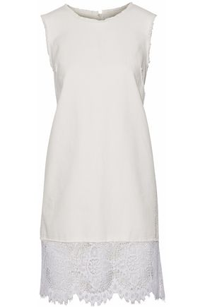 McQ Alexander McQueen Crochet-paneled denim mini dress