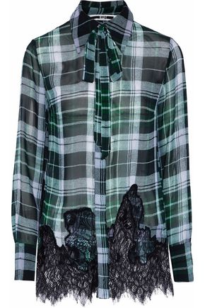 McQ Alexander McQueen Pussy-bow lace-trimmed check silk crepe de chine top