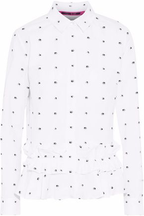 McQ Alexander McQueen Ruffle-trimmed printed cotton-poplin shirt