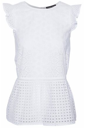 MARKUS LUPFER Ruffled broderie anglaise cotton top