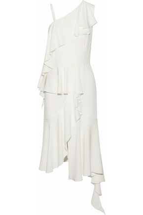 GOEN.J Asymmetric ruffled silk-cady midi dress