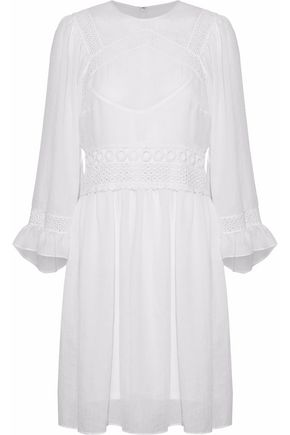 McQ Alexander McQueen Crochet-trimmed pleated cotton-gauze mini dress