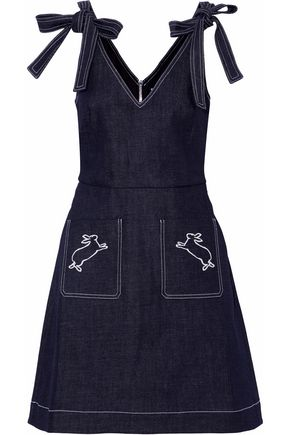 MARKUS LUPFER Embroidered denim mini dress
