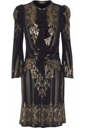 ROBERTO CAVALLI Metallic ruched printed crepe dress