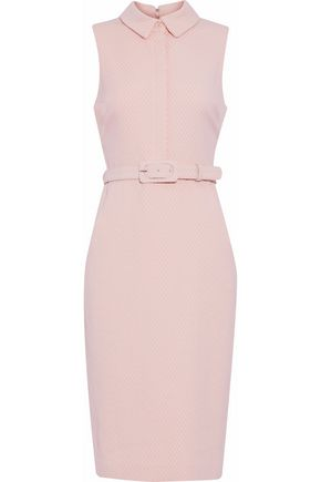 BADGLEY MISCHKA Belted embroidered cotton-blend dress