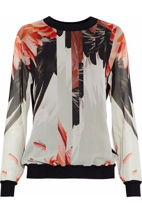 ROBERTO CAVALLI Ribbed knit-paneled printed silk-chiffon blouse