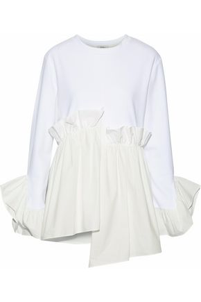 GOEN.J Gathered poplin-paneled modal and cotton-blend top